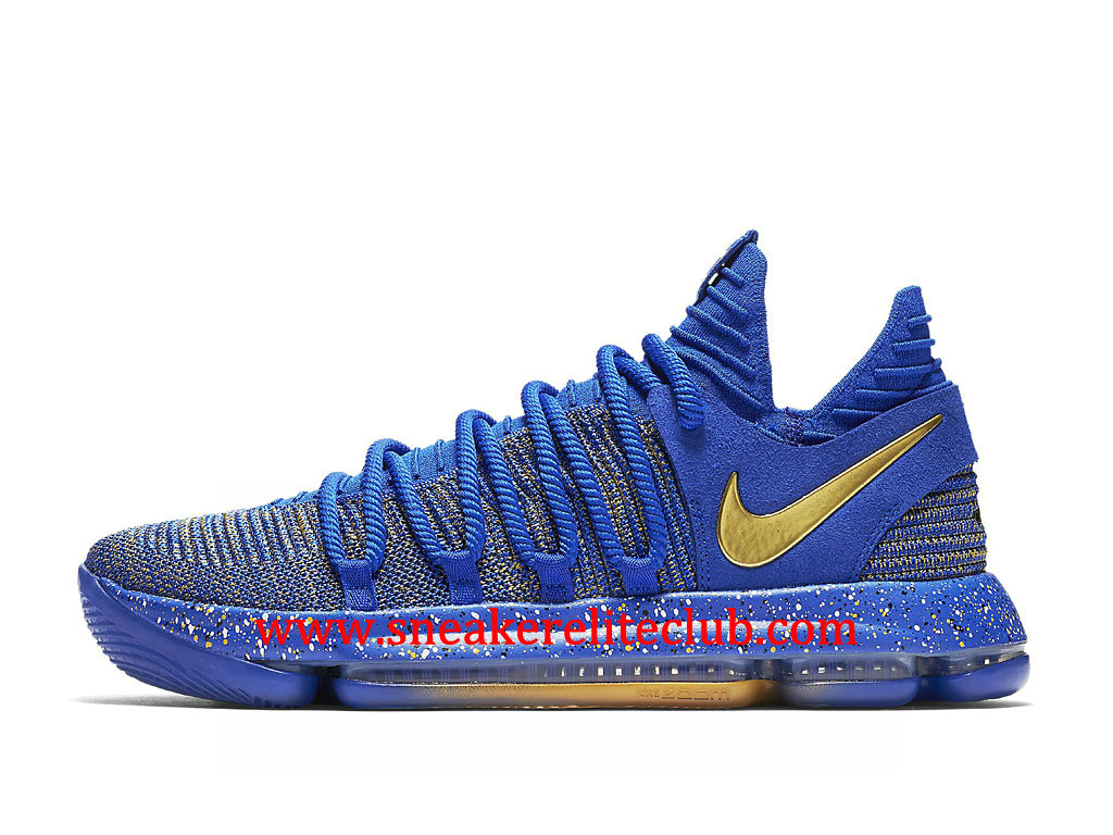 designer fashion 669c7 6227b Chaussures BasketBall Homme Nike KD 10 Finals MVP Pas Cher Prix Bleu Or  897815_403 ...