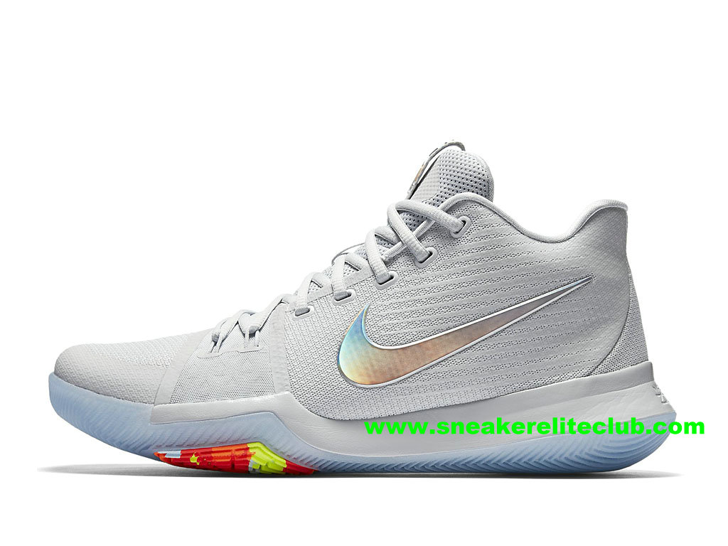 check out be3a6 cf57a best price chaussures homme nike kyrie 3 iridescent swoosh basketball prix pas  cher blanc argent 852416001