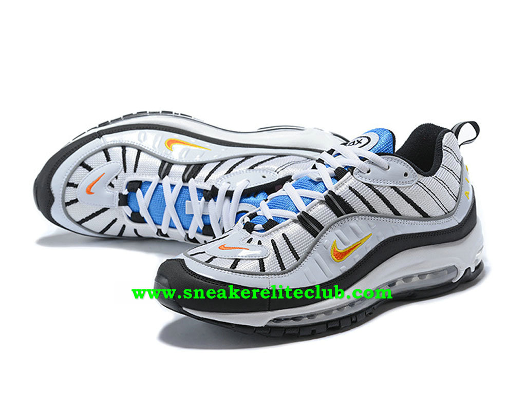 new product cef08 2e36f ... free shipping nike air max 98 id chaussures prix pas cher pour homme  blanc noir bleu