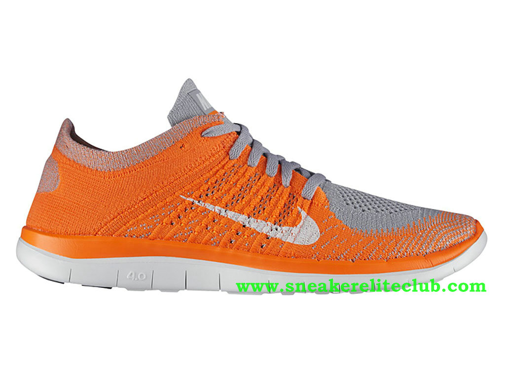 uk store entire collection new cheap Nike Free 4.0 Flyknit Chaussure Pour Homme Orange/Gris/Blanc ...